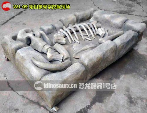 仿真始祖象骨架挖掘现场