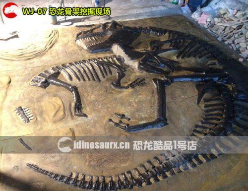 仿真恐龙骨架挖掘现场