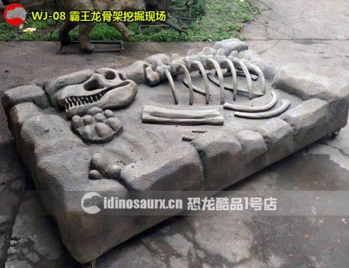 仿真霸王龙骨架挖掘现场