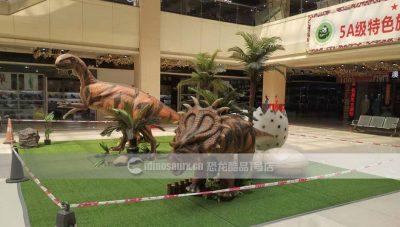 仿真恐龙模型装饰在皮革城