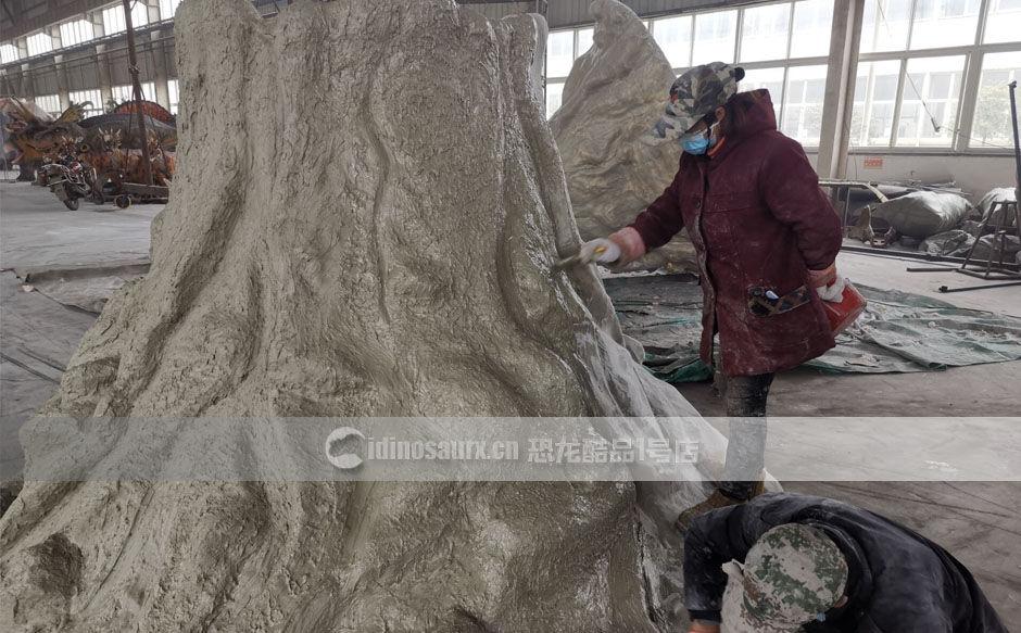 定制恐龙时代火山雕塑